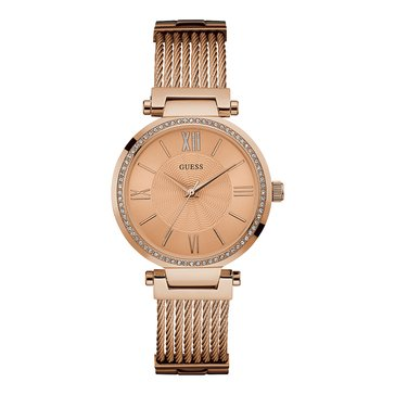 Guess Women's Rose Gold Tone Stainless Steel Bracelet Watch, 34mm