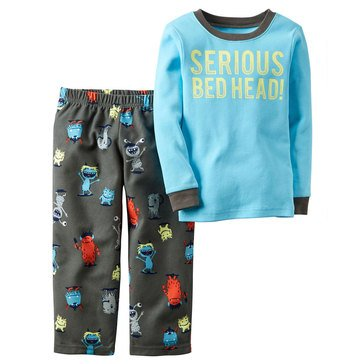 Carter's Baby Boys' Serious Bed Head 2-Piece Fleece Sleepwear Set