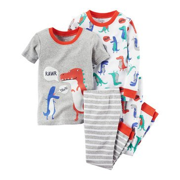 Carter's Baby Boys' Dino 4-Piece Cotton Sleepwear Set