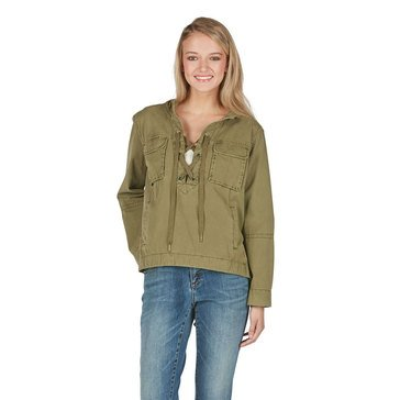 Free People Safari Pullover Lace Up Neck with 2 Front Pockets