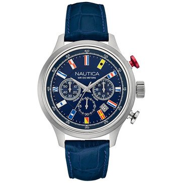 Nautica Men's Chronograph Stainless Steel Navy Leather Strap Watch 44mm