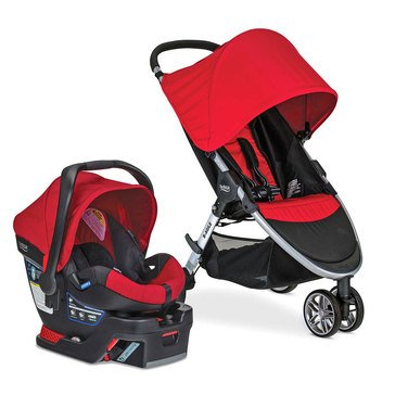 Britax 2016 B-Agile 3 Travel System w/ B-Safe 35 Infant Car Seat, Red