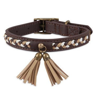 Mutt Nation Faux Leather with Tassel Collar Medium