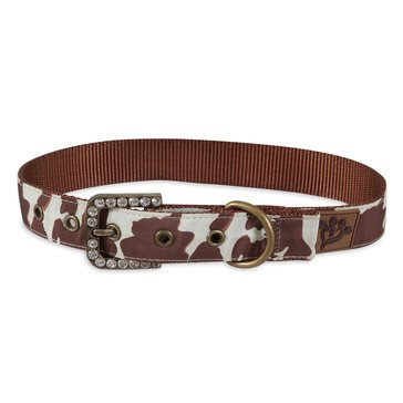 Mutt Nation Brown Cowhide Print Collar Large