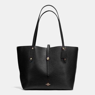 Coach Polished Pebble Market Tote Black True Red