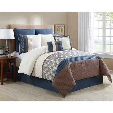 Gold Collection 8-Piece Comforter Set, Lewis Blue - King
