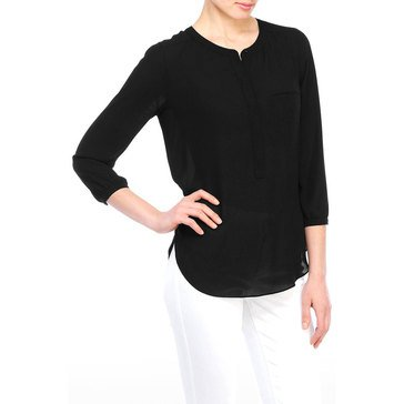 Not Your Daughter's Jeans 3/4 Sleeve Pleatback Top in Black