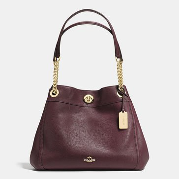 Coach Pebble Turnlock Edie Hobo Oxblood