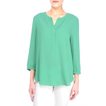 Not Your Daughter's Jeans Solid Pleat Back Blouse in Sea Green