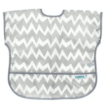 Bumkins Junior Bib, Gray Chevron