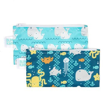 Bumkins Reusable Snack Bag 2-Pack, Sea Friends & Whales Away