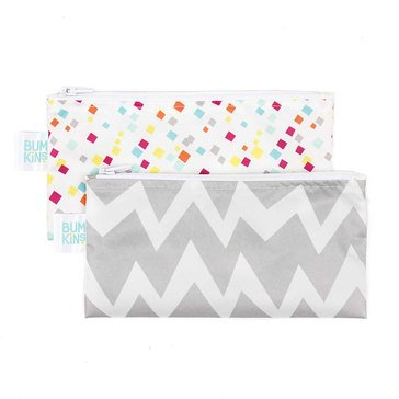Bumkins Reusable Snack Bag 2-Pack, Gray Chevron & Confetti