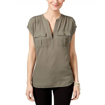 I.N.C. International Concepts Women's Half Placket Top in Olive Drab