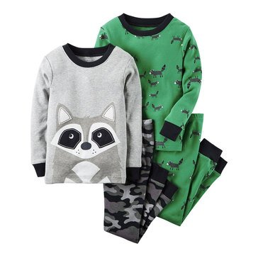 Carter's Baby Boys' Raccoon Camo 4-Piece Sleepwear Set
