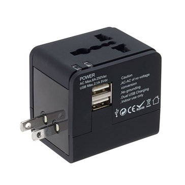 Lewis N. Clark Global Adapter with Dual USB Charger - Black