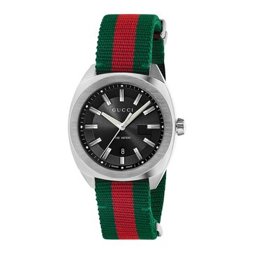 Gucci Unisex NATO Black with Green & Red Strap Watch, 41mm