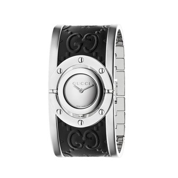 Gucci Women's Twirl Stainless Steel and Leather Cuff Bracelet Watch, 24mm