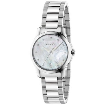 Gucci Women's G-Timeless Diamond Accent Stainless Steel Bracelet Watch, 27mm