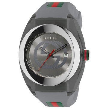 Gucci Unisex Sync Grey Rubber Strap Watch 46mm