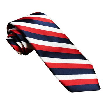American Lifestyles All Over Stripes Woven Tie -Navy