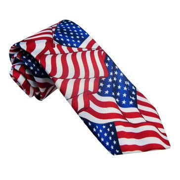 American Lifestyles All Over Flag Print Tie -Navy