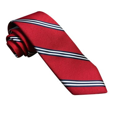 American Lifestyles All Over Stripe Jacquard Woven Tie - Red
