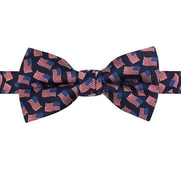 American Lifestyles All Over Flags Pre-Tied Bow Tie -Navy