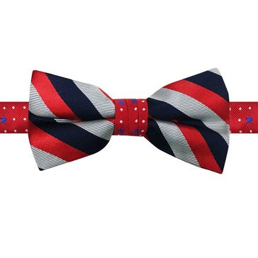 American Lifestyles Woven Stripe Pre-Tied Bow Tie - Red