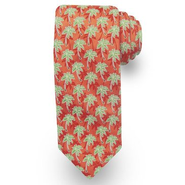 American Lifestyles Coastal Palm Trees Tie -Coral