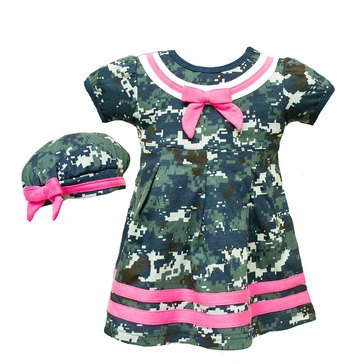 TRPR INFNT GRL USN 2PC NWU PNK DRESS & BERET SET_D