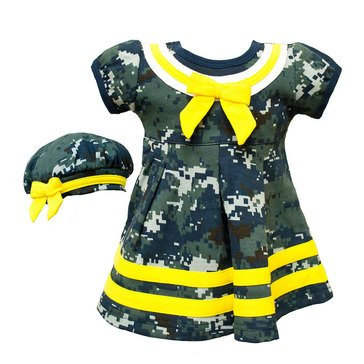 TRPR INFNT GRL USN 2PC NWU GOLD DRESS & BERET SET_D