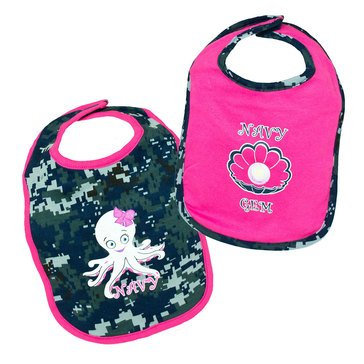 TRPR INFANT USN NWU GEM/OCTOPUS BIB SET-PINK_D