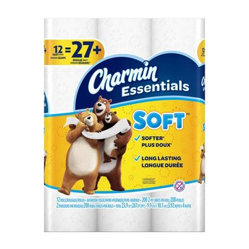 Charmin Essentials Ultra Soft Toilet Paper, 12 Giant Rolls