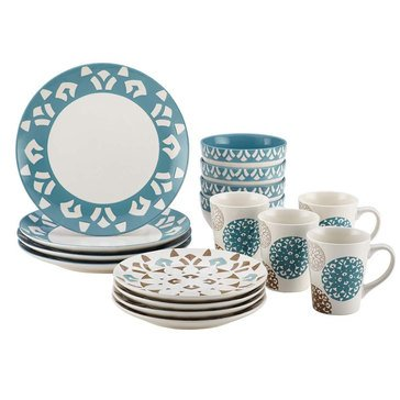 Rachael Ray Pendulum Blue 16-Piece Dinnerware Set