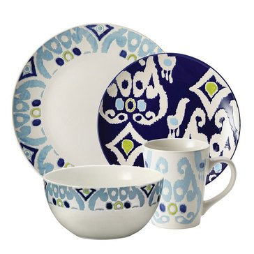 Rachael Ray Ikat Blue 16-Piece Dinnerware Set