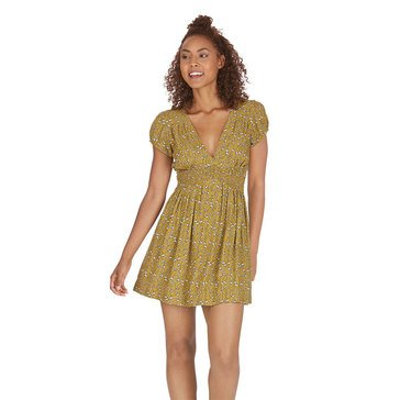 Free People Pretty Baby Ditsy Print Mini Dress in Ochre Combo