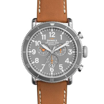 Shinola Men's Runwell Chronograph Blue Dial/Stainless Steel with Tan Leather Strap, 48mm