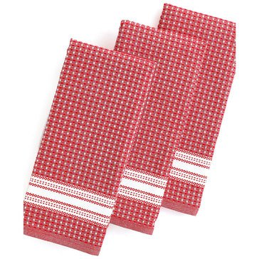 Martha Stewart Collection Waffle Kitchen Towels, Red, Set of 3