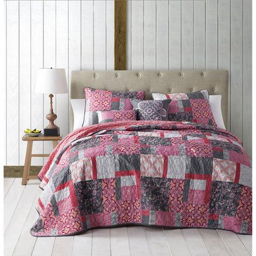 Lucca 5-Piece Reversible Quilt, Coral - King