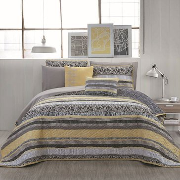 Cleo 5-Piece Reversible Quilt, Grey/Yellow - Queen