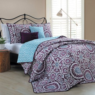 Leona 5-Piece Reversible Quilt, Plum - Queen