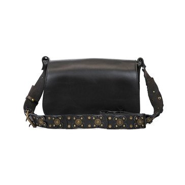 Patricia Nash Rosa Square Strapped Flap Saddle Bag Vintage Black