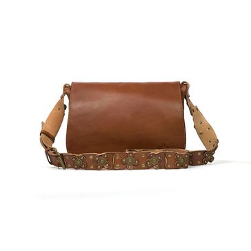 Patricia Nash Rosa Square Strapped Flap Saddle Bag Vintage Tan