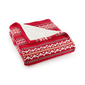 Martha Stewart Collection Fair Isle Throw, Red