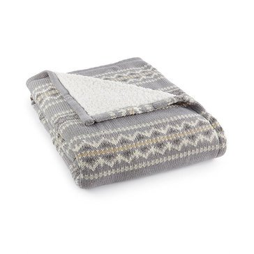 Martha Stewart Collection Fair Isle Throw, Grey