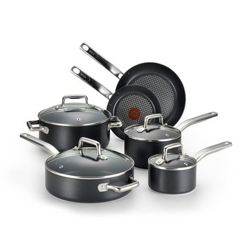 T-fal Prograde 10-Piece Cookware Set, Black