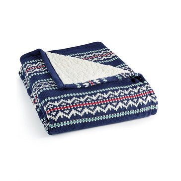 Martha Stewart Collection Fair Isle Throw, Navy
