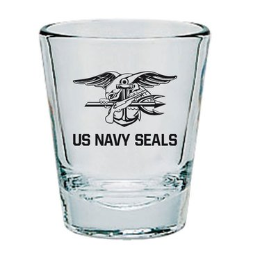 MCM U.S. Navy Seal Team Clear Short Glass, Gold/Black