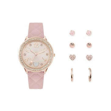 Jessica Carlyle Women's Earring And Watch Boxed Set