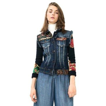 Desigual Denim Vest With Cotton Sleeves Floral